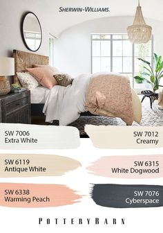 In this chic space, you'll find airy Sherwin-Williams hues and natural accents. Contrasting paint colors, like Extra White SW 7006 and Cyberspace SW leave room for personal touches. Click through to see the full Spring/Summer 2019 palette. Bedroom Paint Colors, Paint Colors For Home, House Colors, Master Bedroom Color Ideas, Bedroom Ideas, My New Room, My Room, Home Bedroom, Bedroom Decor