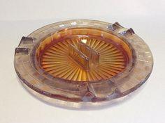 Carnival Glass Ashtray Iridescent Marigold - Vintage Ashtray - Round Marigold Ashtray $14.00