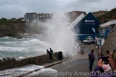 Man nearly swept into the sea in Newquay storm swell Newquay, My Heritage, Atlantic Ocean, Cornwall, Mother Nature, Surfing, Coast, Waves, Sea