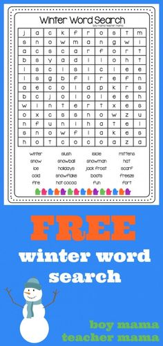 FREE Winter Word Search With Halloween and Thanksgiving officially over it is time to think about winter! I created this FREE winter word search for you all. Share it with your students your chil Winter Word Search, Holiday Word Search, Holiday Words, Christmas Words, Christmas Games, Christmas Crafts, Winter Words, Winter Fun, Winter Sport