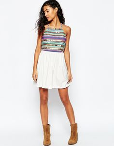 Image 4 ofASOS Halter Sundress With Embroidery and Coin Trim