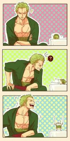 So adorable! One Piece Rorona Zoro