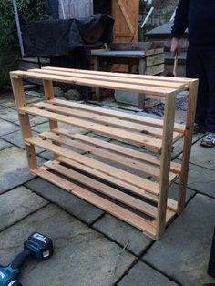 Shoe rack made out of old bed slats