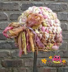 Merino Wool Art Yarn Sari Silk Ribbon Baby Hat by Doodlebopperz, $27.00