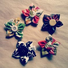 Handmade hair clips by His & Hers Homemade. Made with recycled fabrics.
