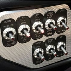 .Illuminated dash toggle switches: