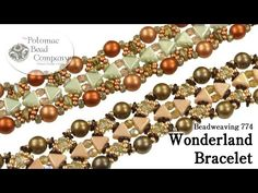 Wonderland Bracelet - YouTube, using Kheops Par Puca triangles, and many more Czech products + Miyuki seed beads.  Find all supplies at Potomac Bead Company stores and online at www.potomacbeads.com