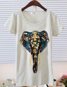 Fashion Elephant Nose Short-sleeved T-shirt