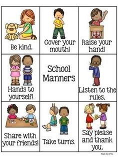Hang it up in your classroom to remind students of their behavior in school! -sharing -turn taking -raising your hand -listening and more! Manners Preschool, Manners Activities, Manners For Kids, Preschool Learning, Preschool Activities, Teaching Manners, Classroom Behavior, Kindergarten Classroom, Classroom Management