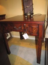Hickory Chair Accent Table With Inlaid Design At Missing Piece