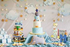 The Little Prince inspired boy party Prince Party Theme, Prince Birthday Theme, Baby Birthday, The Little Prince Theme, Little Prince Party, Baby Shower Fun, Baby Shower Parties, Prince Cake, Baby Deco