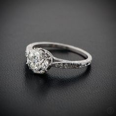 A Stunning 1.49ct Solitaire Old Mine Cut Diamond, set in platinum, and in the most beautiful setting. AMAZING!