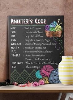 Handy chart of knitting acronyms