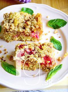 Rýchly rebarborový koláč s mrveničkou Risotto, Sushi, Deserts, Paleo, Bread, Cookies, Ethnic Recipes, Fitness, Food