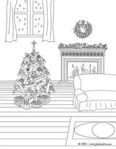 Coloriage : Sapin de Noël décoré devant cheminée à colorier