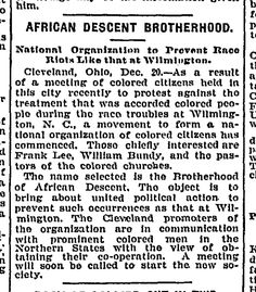 """African Descent Brotherhood,"" Washington Post, 21 December 1898"
