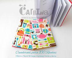 Cuaderno de Cocina! Para 100 recetas. Tamaño 10cm x 15cm y 15cm x 21cm.