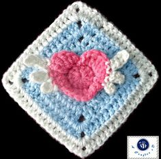 Angel Heart Granny Crochet Square Free Pattern                                                                                                                                                                                 More