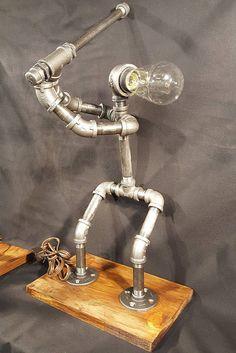 Baseball Batter Pipe Lamp - Steampunk Lamp, Industrial Lamp