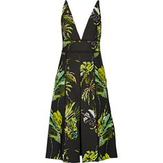 Proenza Schouler Cutout printed silk dress ($3,125) ❤ liked on Polyvore featuring dresses, pleated silk dress, cut out dress, graphic dresses, tropical print dresses and multi-color dress