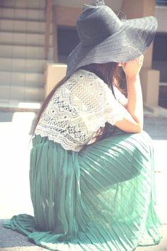 boho/hat/lace/white/chiffon/turquoise