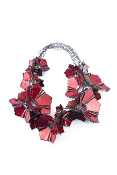 Necklace |  Francisca Bauza. 'Red flower'  Silver, copper and enamel,