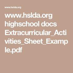 www.hslda.org highschool docs Extracurricular_Activities_Sheet_Example.pdf