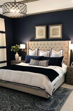 Blue Master Bedroom, Fancy Bedroom, Blue Bedroom Decor, Master Bedroom Interior, Master Bedroom Makeover, Home Bedroom, Master Bedroom Color Ideas, Adult Bedroom Ideas, Bedroom Decorating Ideas