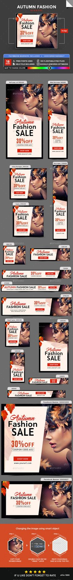 Autumn Fashion Sale Banners  — PSD Template #studio #web banner • Download ➝ https://graphicriver.net/item/autumn-fashion-sale-banners/18285788?ref=pxcr