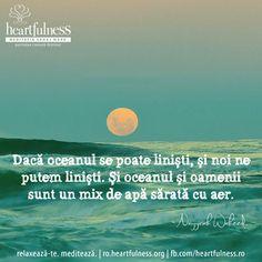 Dacă oceanul se poate liniști, și noi ne putem liniști. Și oceanul și oamenii sunt un mix de apă sărată cu aer. ~ Nayyiriah Waheed #heartfulness   #cunoaste_cu_inima   #hfnro Heartfulness Romania - Google+