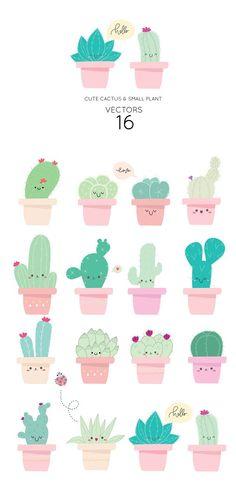 Cute cactus VECTOR ELEMENTS from MooBeer on the creative market art garden indoor plants Cactus Drawing, Cactus Painting, Cactus Art, Cactus Plants, Cactus Flower, Cacti, Cactus Vector, Plant Vector, Art Floral