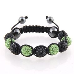 Black and Green Crystal bead Shamballa with black cord and hematite end beads.
