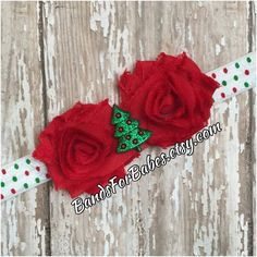 Petite Christmas Shabby Chic Flower Headband, Baby Girls Christmas Headband, Infant Holiday Hair Bow, Red & Green Elastic Headband, Girls by BandsForBabes on Etsy