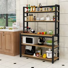 Buy Special kitchen rack microwave oven rack floor multi-layer dressing rack multi-functional home cut table package post on ezbuy SG Kitchen Room Design, Kitchen Sets, Home Decor Kitchen, Kitchen Furniture, Kitchen Interior, Home Kitchens, Industrial Style Kitchen, Industrial Style Furniture, Small Apartment Kitchen