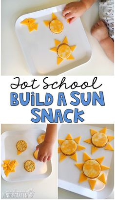 This yummy sun themed snacks are perfect for a weather theme in tot school, preschool, or kindergarten!