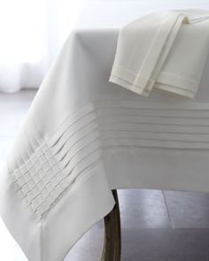 Multi-Pleated Table Linens by Fino Lino Linen & Lace at Horchow. I'm sure that I neeeeed these! Linen Tablecloth, Table Linens, Lace Tablecloths, Bed Cover Design, Decoration Bedroom, Linens And More, Elegant Homes, Bed Covers, Table Runners