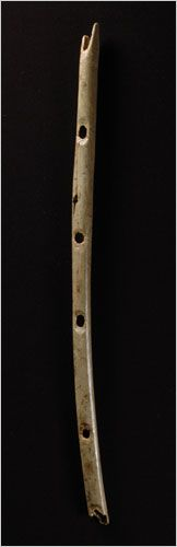 The world's oldest flute.  It was carved from the bone of a griffon vulture approximately 35,000 years ago.  Archaeologists found it at Hohle Fels Cave in Germany.