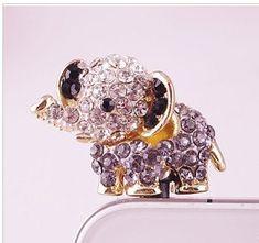 3.5mm crystal elephant dustplug earplug dust plug galaxy iphone 5 iphone 4 iphone 4s sumsang htc bling  iphone HTC Samsang earplugs plug