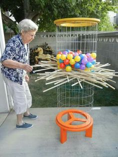 Life-size Kerplunk game (with instructions). I love lawn games! - Mahlen und spiele - Life-size Kerplunk game (with instructions). I love lawn games! What is better than - Fun Games, Activities For Kids, Crafts For Kids, Diy Crafts, Outdoor Activities, Awesome Games, Kids Diy, Elderly Activities, Elderly Games