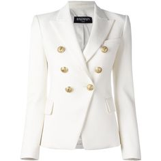 Balmain double breasted blazer ($2,230) ❤ liked on Polyvore featuring outerwear, jackets, blazers, white, long sleeve jacket, white blazer jacket, double breasted jacket, balmain and balmain jacket