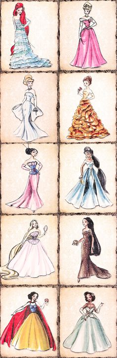 Some good ideas for drawing in here. Kinda look like princess dresses!