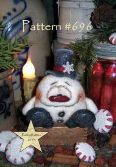 Patti's Ratties Primitive Christmas Snowman Snowflake Ornament Doll Pattern #696