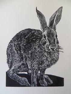 Woodblock print Mathews Rabbit by LisaToth on Etsy, $40.00