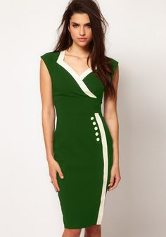Green Patchwork Buttons Midi Dress