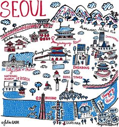 Julia discovered Seoul through drawing the city and the map provided a useful reference when she visited this fast growing, Asian metropolis later the same year. Traditional Korean architecture such as Gwanghwamun Gate, Namdaemun and Gyeonbokgung. Seoul Map, South Korea Travel, Into The West, Learn Korean, Seoul Korea, Korean Language, Map Design, Illustration, Travel Inspiration