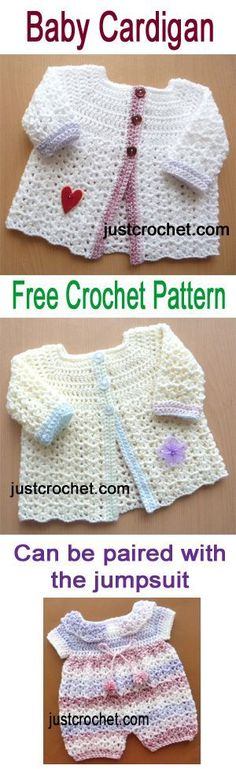 Free crochet pattern for baby cardigan to match baby jumpsuit. #crochet