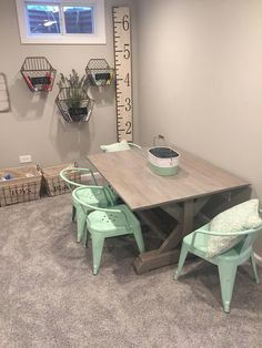 Painted Farmhouse Table and Chairs . Painted Farmhouse Table and Chairs . Farmhouse Table Makeover This Refurbished Farmhouse Table Playroom Table, Playroom Ideas, Playroom Storage, Nursery Ideas, Gray Playroom, Playroom Paint Colors, Small Playroom, Game Storage, Playroom Furniture