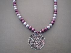 Burgundy and Lavender Glass Pearls Necklace with Pendant by jazzybeads on Etsy