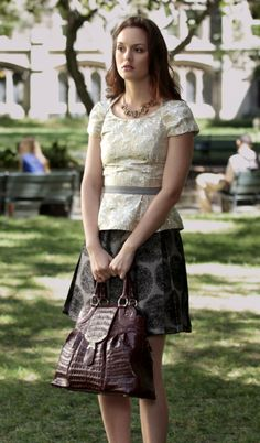 On Blair: Marc Jacobs Glided Sunflower Top, Alice + Olivia High Waisted Skirt