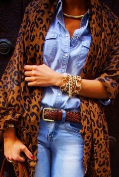 Jeans,Chambray and Leopard